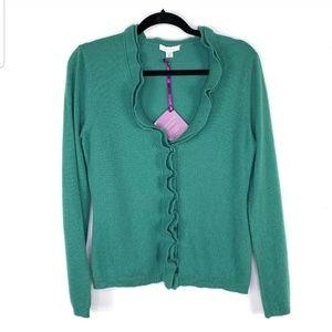 NWT Garnet Hill 100% Cashmere Green Sweater/Cardig